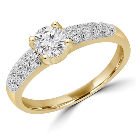 Majesty Diamonds MD180080-7.25 0.5 CTW Round Diamond Solitaire with Accents Engagement Ring in 14K Yellow Gold - Size 7.25 - image 1 of 1