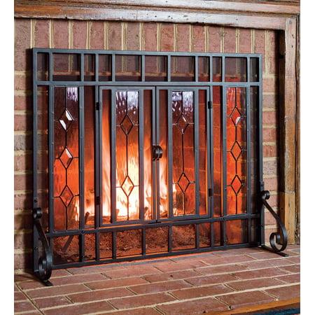 Beveled Glass Diamond Fireplace Fire Screen, Black ()