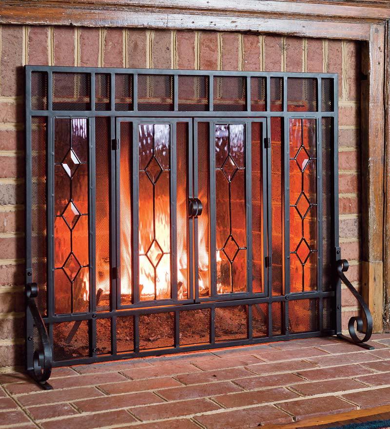 Beveled Glass Diamond Fireplace Fire Screen, Black