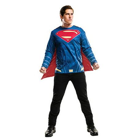 Justice League Mens Superman Adult Dc Superhero Costume Top Shirt-Std - Mens Superhero Costumes