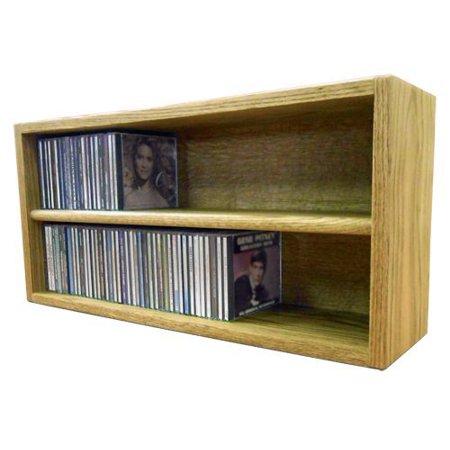 Solid Oak desktop or shelf CD Cabinet- Honey Oak Model - Deluxe Oak Roll Top