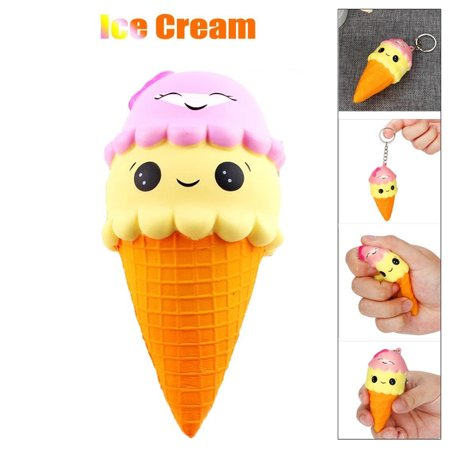 HiCoup Lovely Double Layers Ice Cream Cone Soft Squeezing Reliever Toy Key Ring - Ice Cream Cone Pinata