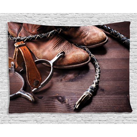 322bb1cec851 Western Decor Tapestry, Authentic Old Leather Boots and Spurs Rustic Rodeo  Equipment USA Style Art Picture, Wall Hanging for Bedroom Living Room Dorm  ...