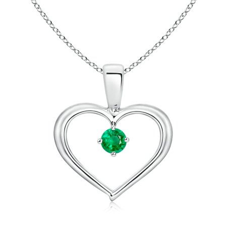 Solitaire Round Emerald Open Heart Pendant in 14K White Gold (3mm Emerald) - SP0165E-WG-AAA-3