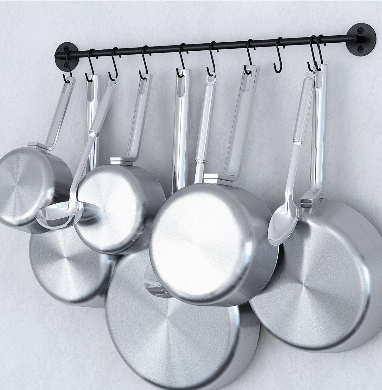 Hanging Utensil Organizer 24 Inch Gourmet Wall Mount Kitchen Rail And S Hooks Set Pot Pan Or Lid Storage Organization Black Com