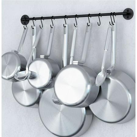 Hanging Utensil Organizer 24 Inch Gourmet Wall Mount Kitchen Rail and S Hooks Set Utensil Pot Pan or Lid Storage Organization Black