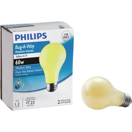 2 Pack Incandescent Light Bulb (Philips Lighting Co 2 Pack 60w Yel Bug Bulb)