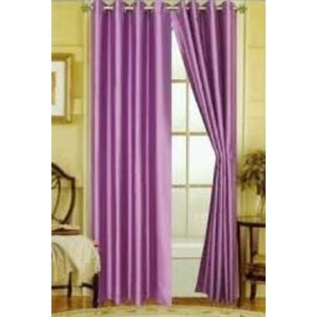 (#32) Hotel Quality SILVER Grommet Top, FAUX SILK 1 PANEL LILAC LAVENDER SOLID THERMAL FOAM LINED BLACKOUT HEAVY THICK WINDOW CURTAIN DRAPES  GROMMETS 84