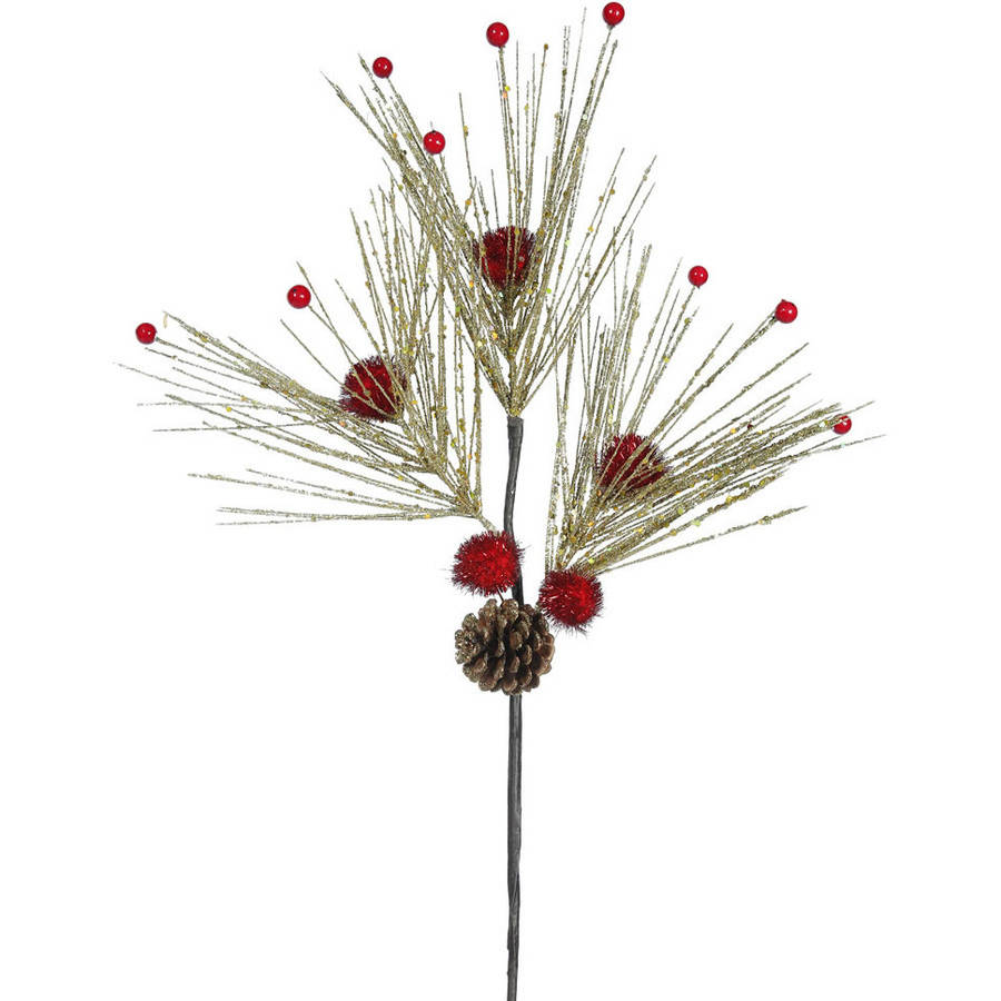 "Vickerman 22"" Glitter Pine Berry Artificial Christmas Spray, Pack of 3"