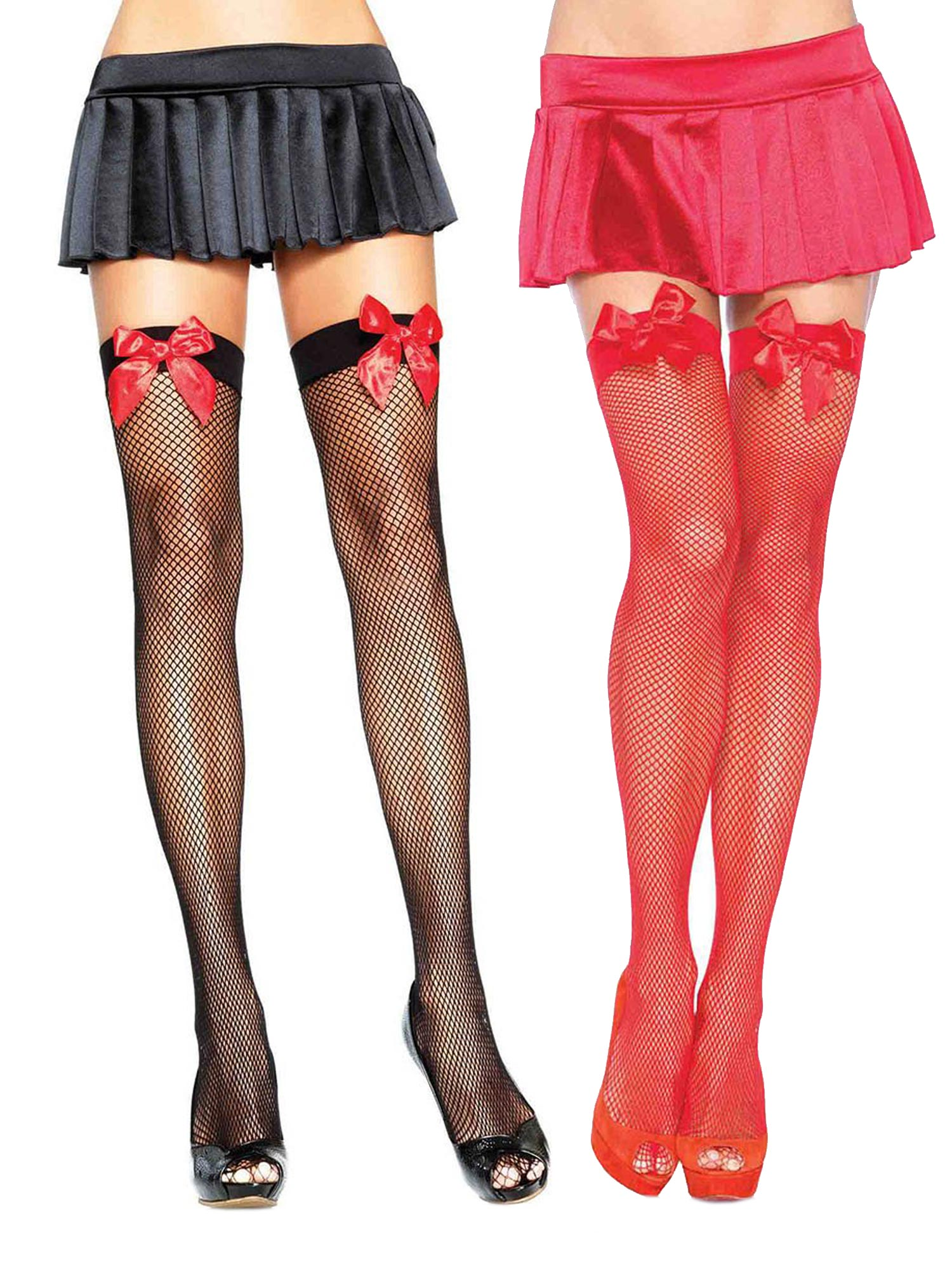 e0e895d9e Womens Holiday Stockings Satin Bow Fishnet Black and Red Thigh High Hosiery  Tights- Pack of 2 - Walmart.com