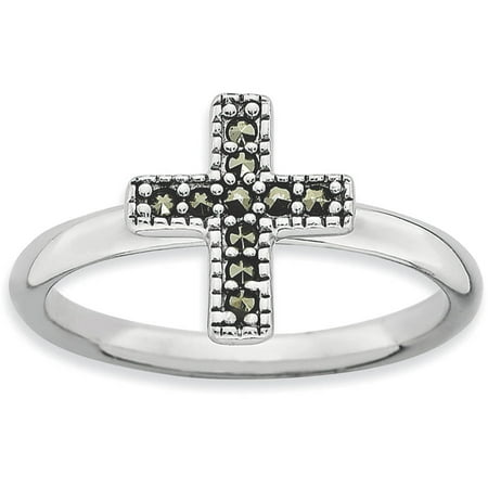 - Marcasite Sterling Silver Cross Ring