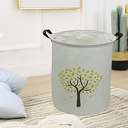 """AUCHEN Baby Laundry Basket, 19.7""""Hx 15.7""""Wx 15.7""""L Large Collapsible Clothes Hamper - Toy Bin with 2 Handles & Waterproof - Dirty Clothes, Kids Baby Toys Collection - Round - Yellow Tree"""