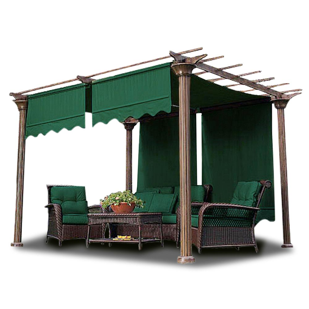 Yescom 2 Pcs 15.5x4 Ft Canopy Cover Replacement with Valance for Pergola Structure Green/Tan Opt