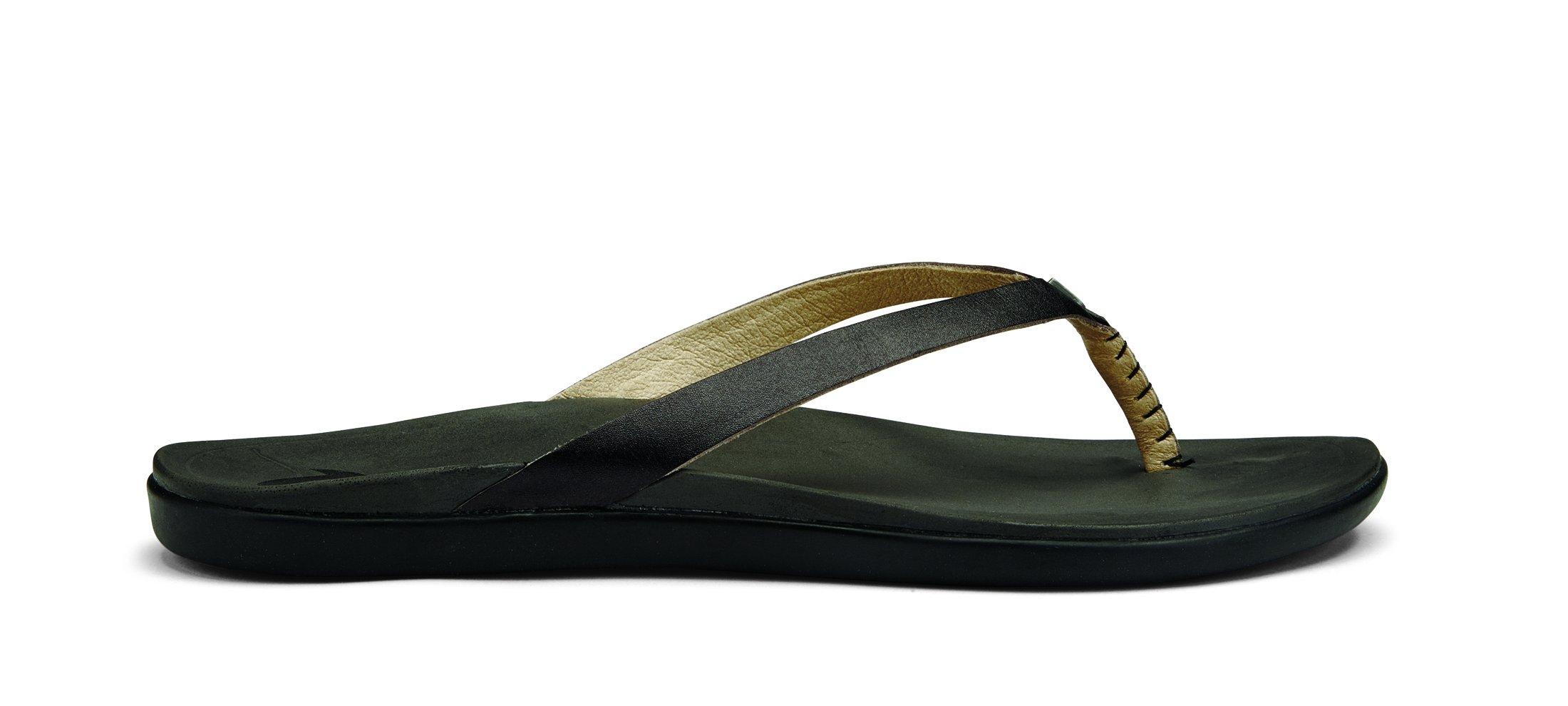 OluKai Ho'opio Leather Sandal - Women's Onyx/Black 10