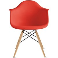 2xhome Red Mid Century Modern Plastic Dining Chair Molded With Arms Armchairs Natural Wood Legs Desk No Wheels Accent Chair Vintage Designer for Small Space Table Furniture Living Room Desk DSW