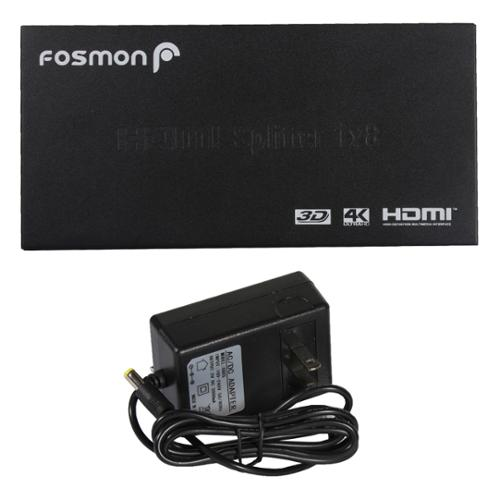 Fosmon 4K Ultra HD 8-Port HDMI Splitter 1x8 Amplified Signal Distributor / Powered Splitter - Supports 3D 4Kx2K 1080p HD