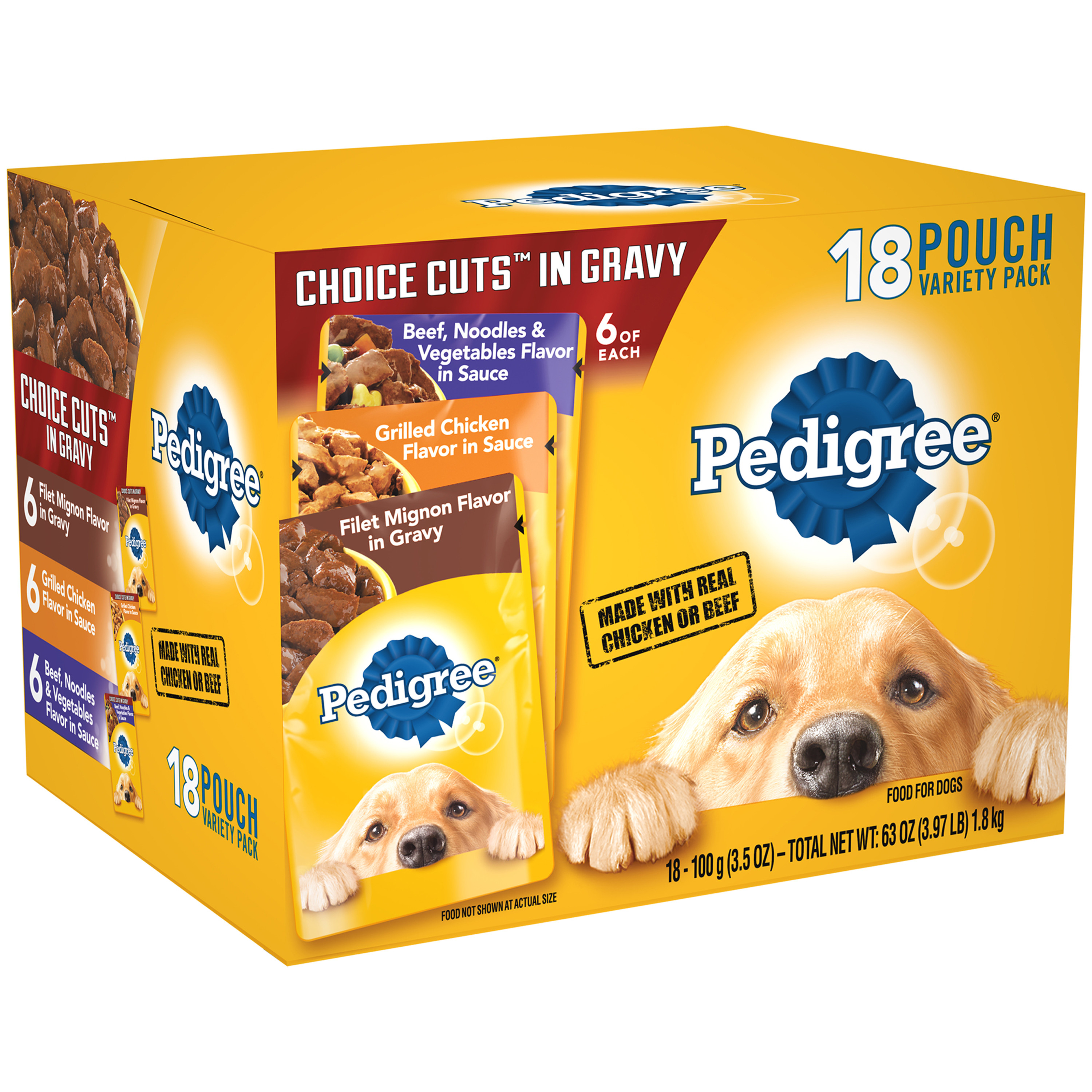 18 Pack Pedigree Choice Cuts In Gravy Adult Wet Dog Food Variety