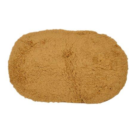 Indoor Plush Oval Bath Slip Resistant Mat Pad Rug Doormat Camel Color 60 x 40cm