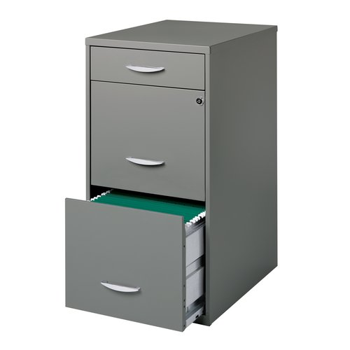 Space Solutions 3-Drawer Steel File Cabinet, Platinum Grey ...