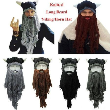 Viking Beard Hats (Fashion Men´s Viking Long Beard Horn Hat Vagabond Barbarian Crazy Ski Cap)