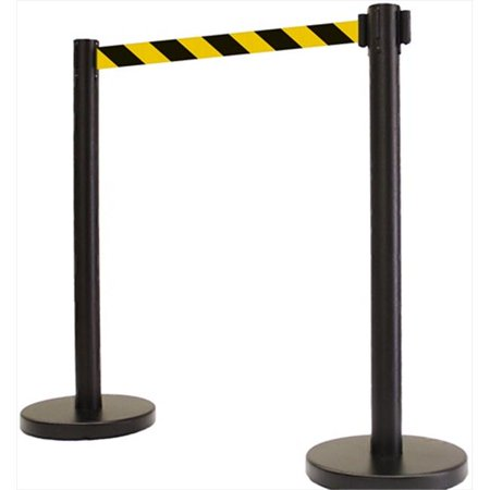 VIP Crowd Control 1005 12 in. Flat Base Black Post Retractable Belt Stanchion - 6.5 ft. Safety Stripe Belt