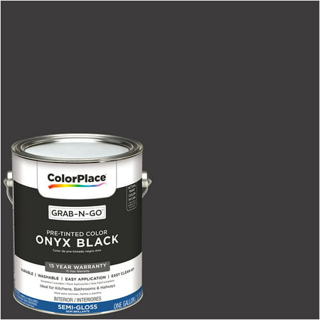 Colorplace Pre Mixed Ready To Use Interior Paint Onyx Black Semi Gloss