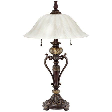 - Kathy Ireland Amor Collection Glass Shade Table Lamp In Bronze