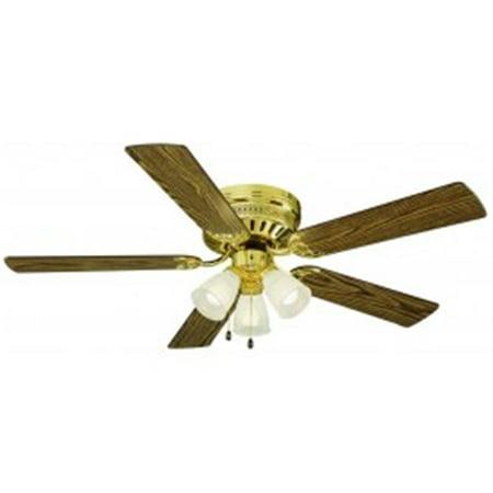 Millbridge 52 in. 3-Light 5-Blade Hugger Mount Ceiling Fan, Medium Oak or Walnut Blades, Polished Brass (Oak 52 Inch Fan Blades)