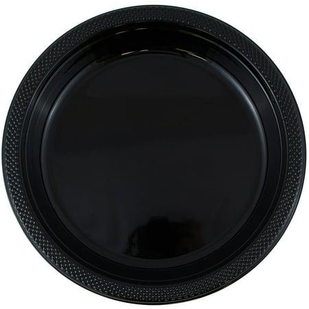 JAM Round Plastic Party Plates, Black, 20/Pack, Medium, 9