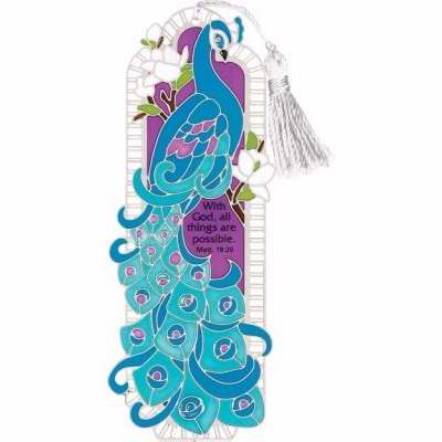 Joan Baker Designs 117204 Bookmark Peacock With God All Things Are Possible 2. 75 x 4