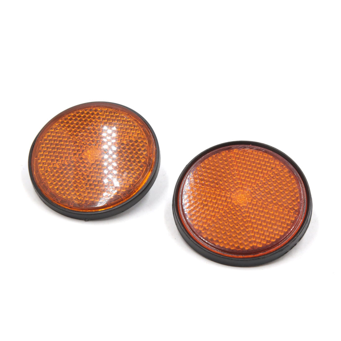 2Pcs 2.2 Inch Dia Motorcycle Scooter Round Reflective Reflectors Orange Black
