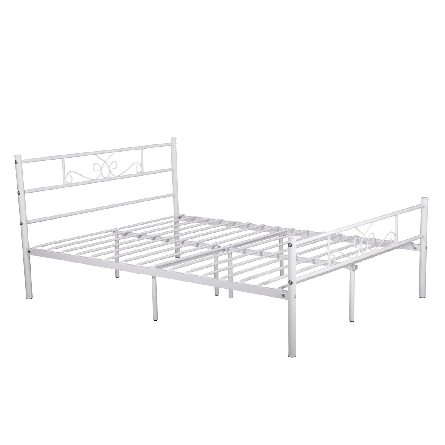 Teraves Platform Metal Bed Frame Foundation Headboard