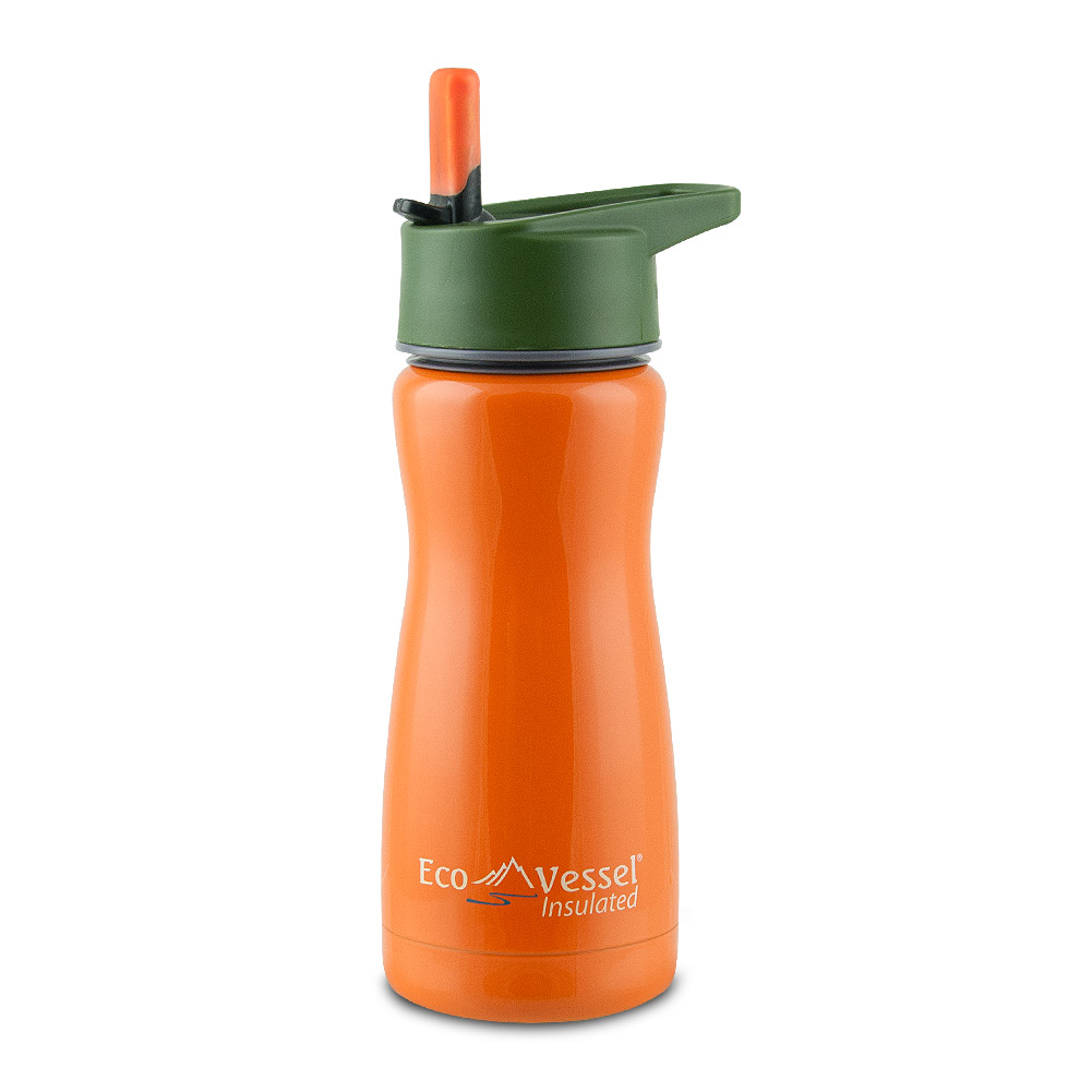 Frost Kids 13oz Insulated Bottle with Straw Top, Orange with Tree