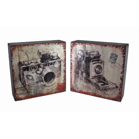 Vintage Camera Postcard Print Foil On Wood Wall Hanging Set of 2