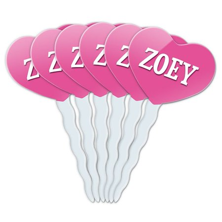 Zoey Heart Love Cupcake Picks Toppers - Set of 6