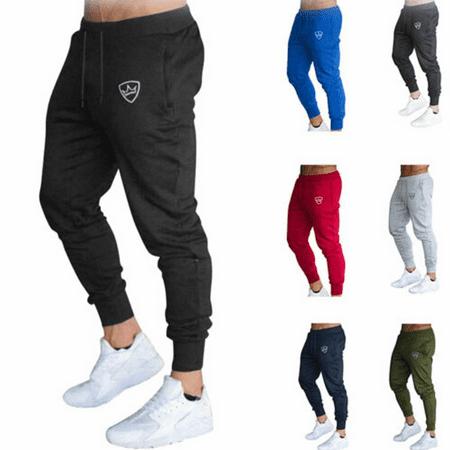 Mens Slim Fit Tracksuit Sport Gym Skinny Jogging Joggers Sweat Pants Trousers Slim Fit Suit Trousers