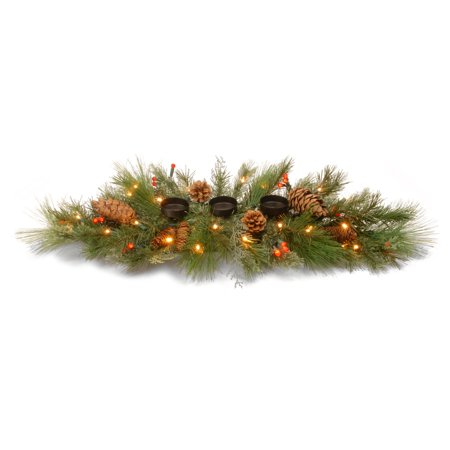 - 30 in. Decorative Collection White Pine Pre-Lit LED Centerpiece with Candle Holder