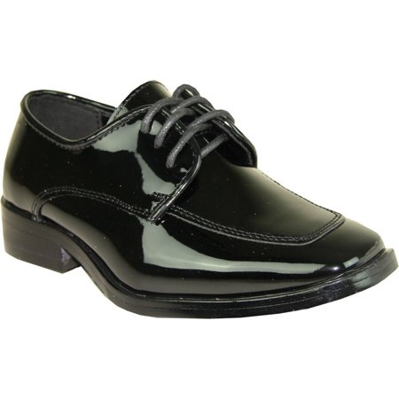 VANGELO Men's Tuxedo Shoes TUX-3 Fashion Square Toe with Wrinkle Free Material Black Patent 7.5M