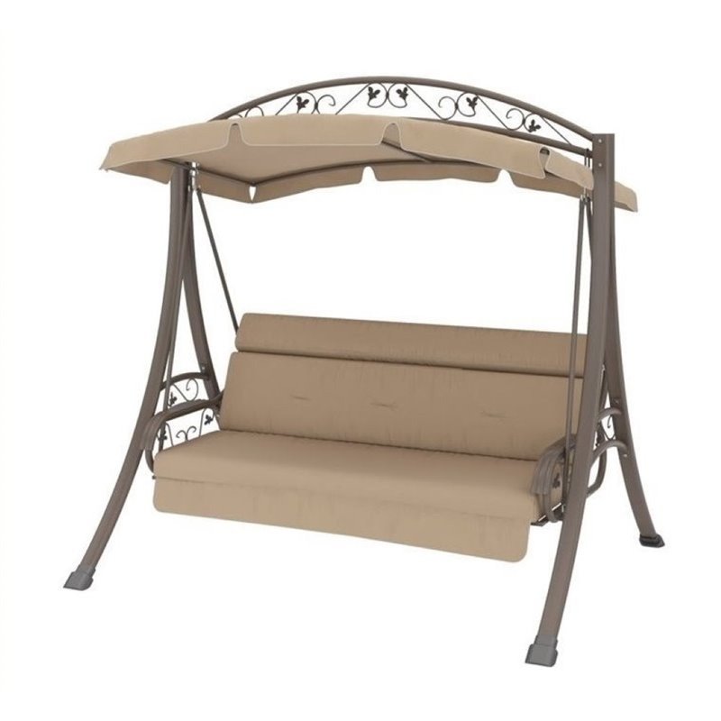 Bowery Hill Patio Swing with Arched Canopy in Beige by Bowery Hill