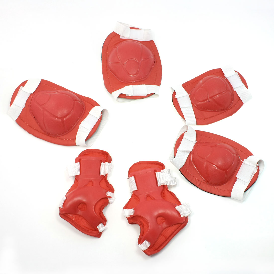 Red White Hook Loop Fastener Knee Elbow Palm Skating Sports Support Set
