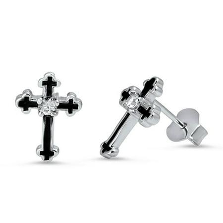 Clear Prong Set Cubic Zirconia Two Tone Cross Stud Earrings Sterling (Set Silver Tone Cross)