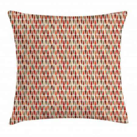 Geometric Throw Pillow Cushion Cover, Teardrop Shapes Pattern with Colorful Motifs Arrangement in Retro Modern Style, Decorative Square Accent Pillow Case, 18 X 18 Inches, Multicolor, by (Tear Drop Shape)