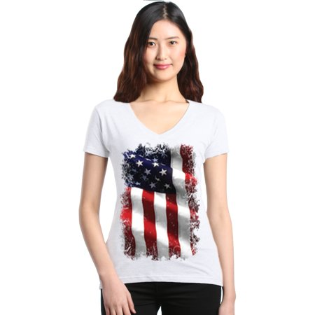 4th Of July Wedding Ideas (Shop4Ever Women's Patriotic American Flag 4th of July USA Slim Fit V-Neck)