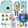 Fujifilm Instax Mini 9 Camera Ice Blue + Accessories kit for Fujifilm Instax Mini 9 Camera Includes; Instant camera + Fuji Instax Film (20 PK) + Sky Camera Case + Frames + Selfie lens + Album And More Abesons 10 In 1 camera accessories bundle set for the FujiFilm Instax mini 9 Mini 8 and Mini 8+ Instant Camera. From Film to our blue bag to get the most use and fun out of your FujiFilm Instant Camera. It makes a Grate gift for anyone in your life !BUNDLE FEATURES?1 Fujifilm Instax Mini 9 Instant Film Camera (Ice Blue )?1 X FUJIFILM INSTANT TWIN PACK FILM ( 20 Sheets) is an ISO 800 wide picture format integral daylight color film designed for use with Fujifilm instax mini series cameras ?? 1 X Abesons Mini 9 Camera Case with Adjustable Strap. With adjustable strap for your own convenience so that you can set your own comfort level. It is very durable and also has a very soft microfiber inner provides full protection for your Camera? 1 X Abesons Book Album(64 Pockets)-Photo Albums these days are hard to find in the age of Instagram and Facebook.? 1 X Close-Up Selfie Lens We know how hard it is to take the best selfies. So we have included our Special Close Up Selfie Lens. Now you can take the perfect Selfie every time!? 1 X Color Lens Set (4 Colors, Yellow/Blue/Red/Green) So we have given you a four color selection of filters to make your picture uploading process go faster.? 1 X Wall Decor Hanging Frame(10 pcs) -You can take your fave pix and use them to decorate your room YOUR way! It is so retro and unique.? 1 X Film Decor Sticker Borders (20 pcs) - Brighten up your pictures with some fun stickers!? 1 X Creative Frames Set[3 inch](5pcs)- Choose from 5 Creative Frames to place your most cherished and fave pictures in.? 1 X Camera Decor Sticker Adorable Creative Decorative