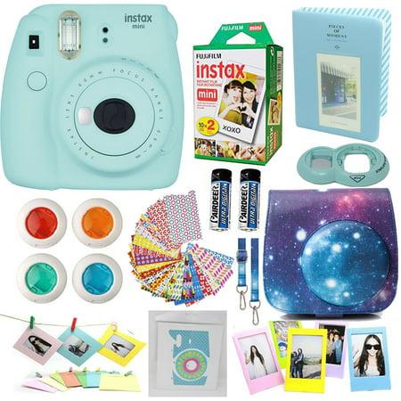 Fujifilm Instax Mini 9 Camera Ice Blue + Accessories kit for Fujifilm Instax Mini 9 Camera Includes; Instant camera + Fuji Instax Film (20 PK) + Sky Camera Case + (Fuji Flower)