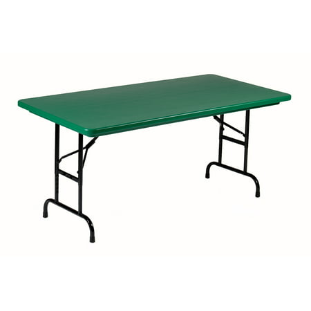 Correll GREEN Commercial Duty, Adjustable Height Plastic Top Folding Table. Height Adjusts from 22″ to 32″ for Kindergarten to Adult use.