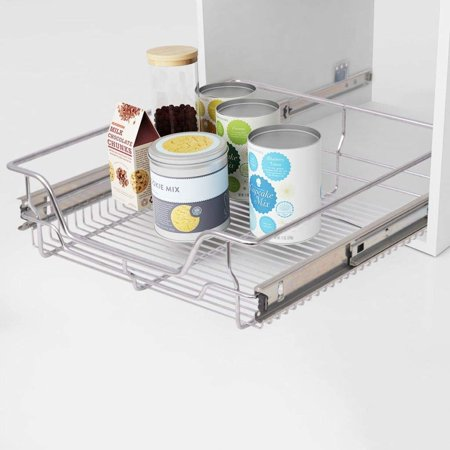 Yosoo Sliding Organizer - Pull Out Cabinet Shelf Chrome Wire Storage Basket Drawer Single Shelf For Kitchen Pantry Bathroom - Multiple