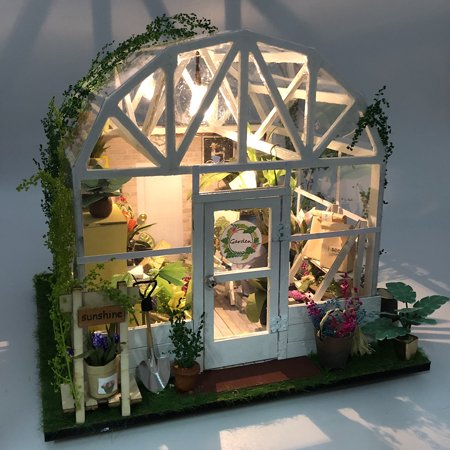 DIY Dollhouse Wooden Miniature Furniture Kit Mini Green House Flower House with LED Birthday Gifts for Children Girls Women - image 5 of 7