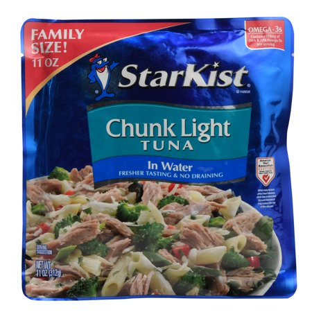 (2 Pack) StarKist Chunk Light Tuna in Water, 11 Ounce Pouch 11 Pre Cut Pouch