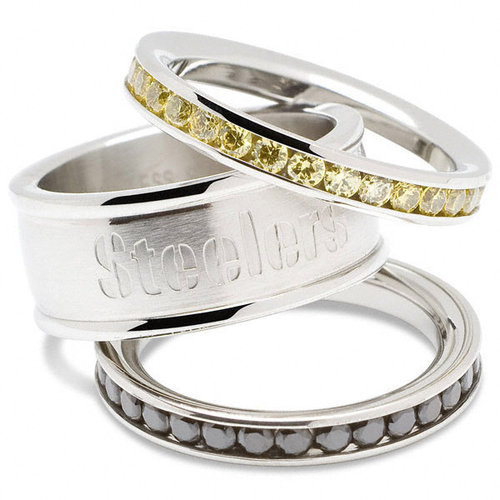 NFL - Pittsburgh Steelers Team Logo Crystal Stacked Ring Set